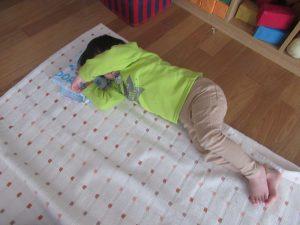 お昼寝は幼児組さんと同じ絨毯で寝ているよ!