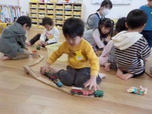 電車のおもちゃ、いっぱいあったよ!